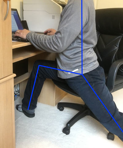 Rectus femoris stretch at work while seated